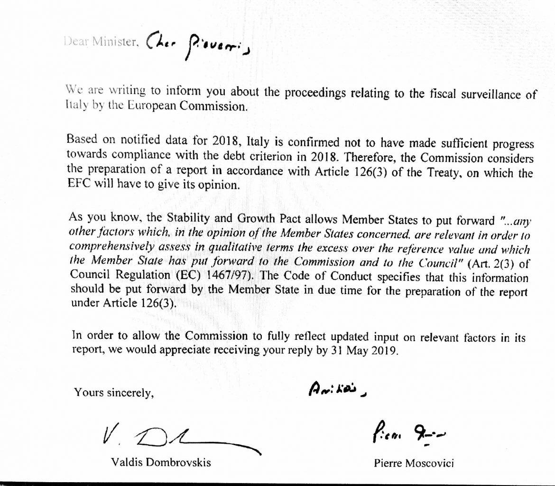 lettera Ue debito