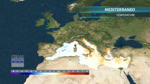 Mare mediterraneo mappa temperature anomalie oggi