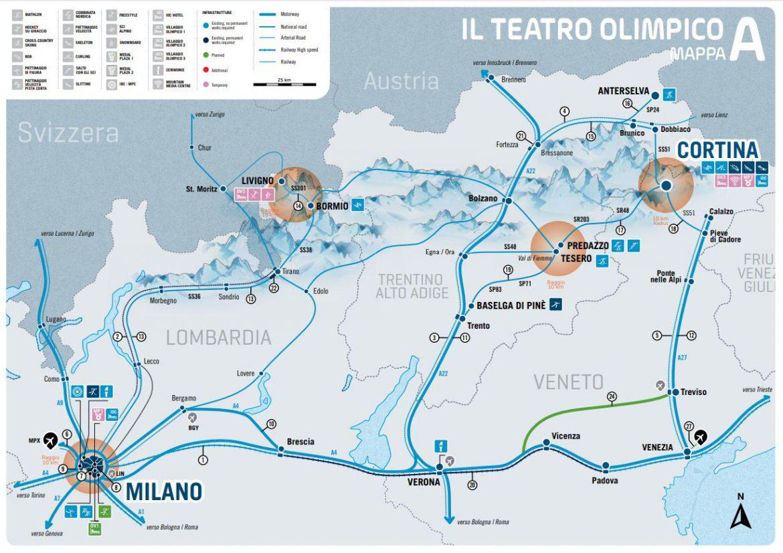 milano cortina olimpiadi 2026 mappa