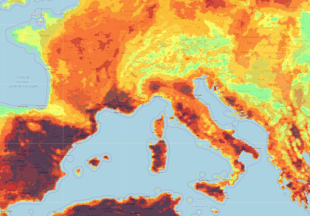 pericolo incendi caldo africano mappa