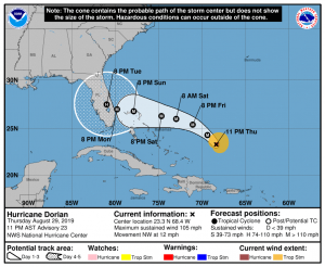 Traiettoria Uragano Dorian