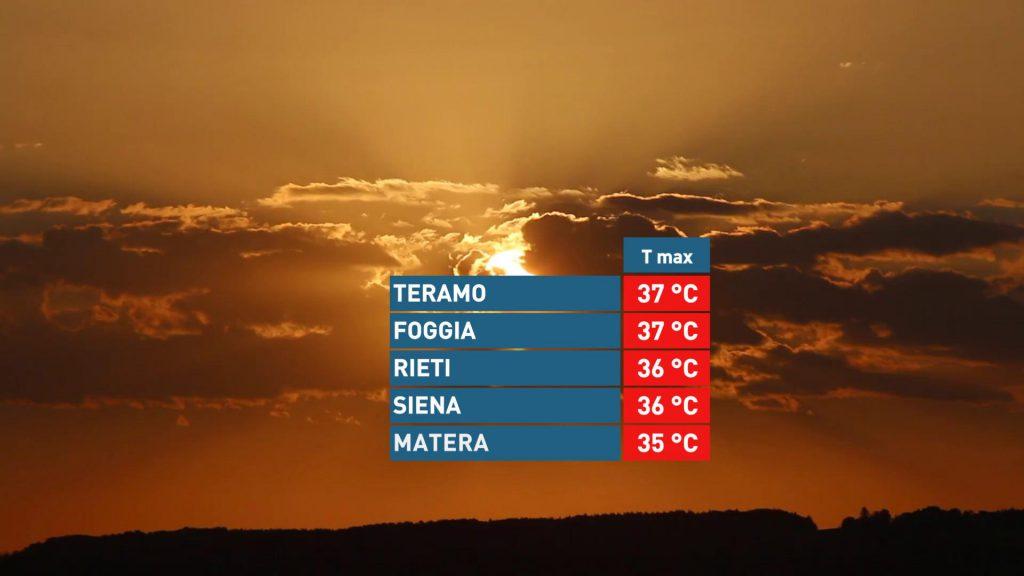 Temperature massime mercoledì - Meteo Expert
