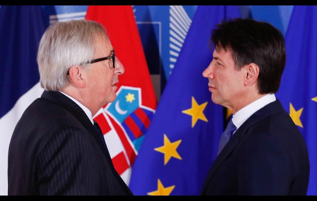 Un incontro di Conte con Junker. Foto ANSA