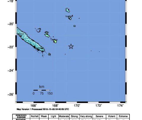 Nuova Caledonia, l'epicentro del terremoto. Foto ANSA