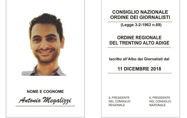 Antonio Megalizzi, l'Ordine dei Giornalisti rilascia la tessera