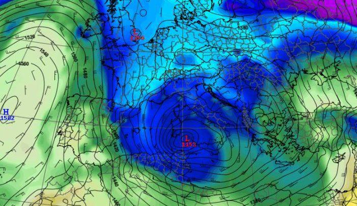 Temperature delle masse d'aria martedì. Fonte Meteo Expert (CENTRO EPSON METEO fino al 2018)