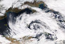 Intenso vortice ciclonico sul Mediterraneo