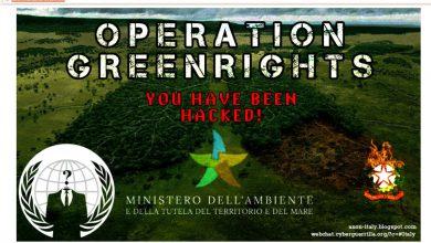 Ministero dell'Ambiente, attacco hacker di Anonymous. Fonte screenshot della pagina web del Ministero dell'ambiente a seguito dell'attacco di Anonymous Italia