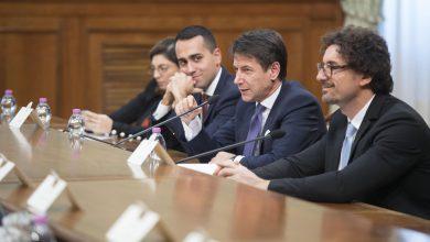 Giuseppe Conte, Luigi Di Maio e Danilo Toninelli. Foto ANSA