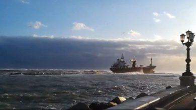 Nave mercantile arenata sul litorale di Bari