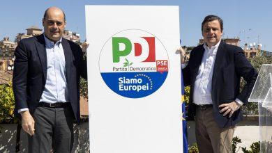 Zingaretti presenta il logo del Pd per le Europee