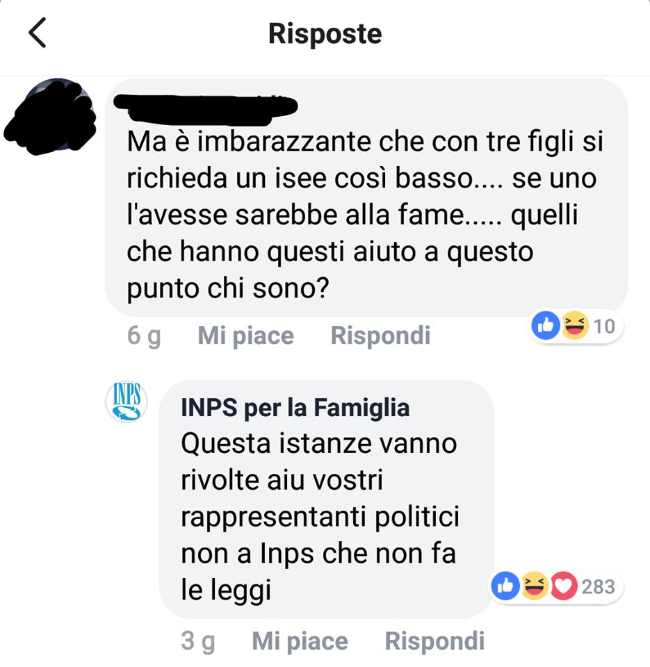 Facebook Inps per la Famiglia