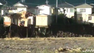 casa crolla fiume tifone giappone