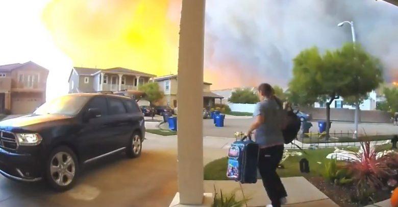 video famiglia incendio california