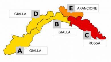 maltempo Liguria, massima allerta meteo