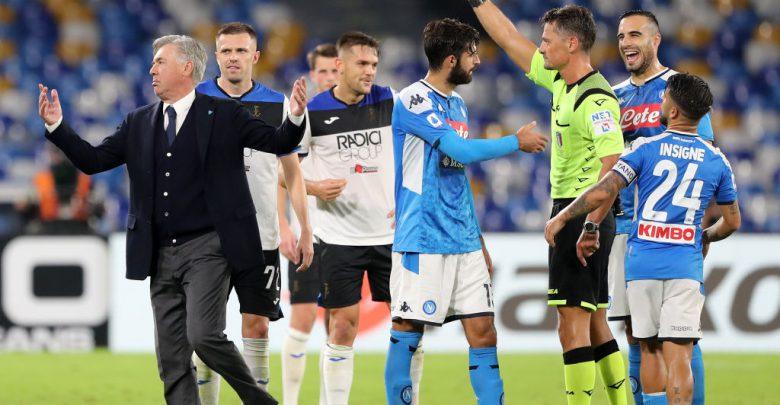 Ancelotti Giacomelli espulsione Napoli-Atalanta